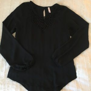 Xhilaration Silky Black Top with Crochet Detail